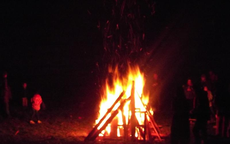 Woodies bonfire - totally necessary to reconnect round the fire, sing, talk, laugh and, of course, get scared witless.